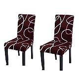 DealMux tramo comprar fundas para sillas silla de cubierta de la silla de comedor hussen cubiertas para comer cojines del asiento de silla sala de fundas para sillas de estiramiento juego de 2, Vino