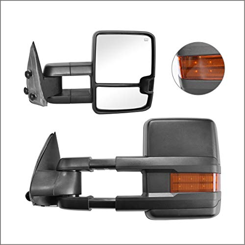 Perfit Zone Towing Mirrors Replacement Fit for 1999-2002 SILVEADO SIERRA Series, W/HEATED,W/AMBER SIGNAL,BLACK (PAIR SET)