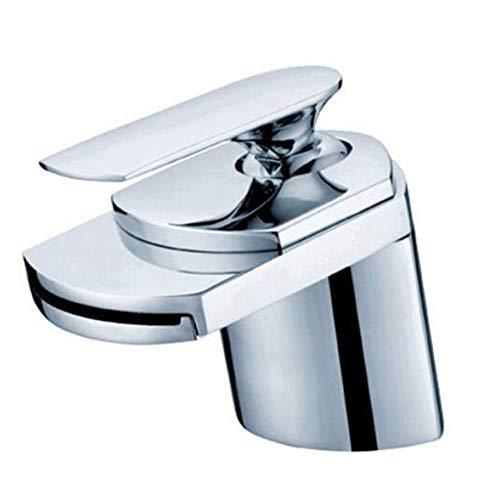 WYZXR Moderno compacto cascada grifo lavabo cobre caliente frío grifo de la boca ancha baño grifo sola palanca mezclador lavabo latón cromo