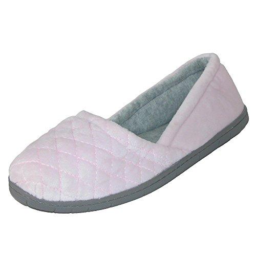 Dearfoams Women's Katie Microfiber Velour Espadrille Slipper, Fresh Pink, Large