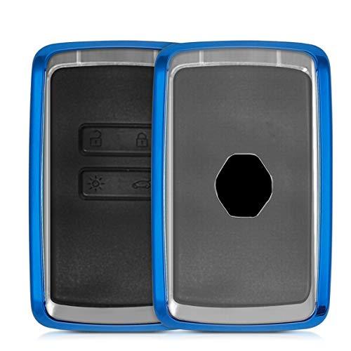 kwmobile Autoschlüssel Hülle kompatibel mit Renault 4-Tasten Smartkey Autoschlüssel (nur Keyless Go) - TPU Schutzhülle Schlüsselhülle Cover in Hochglanz Blau Transparent