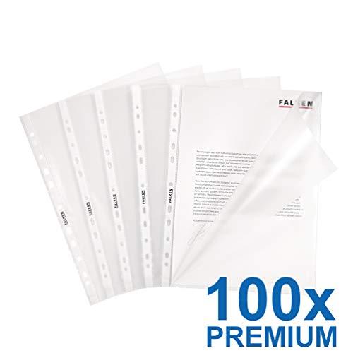 Original Falken 100er Pack Premium PP-Kunststoff Prospekthüllen. Für DIN A4 transparent genarbt oben und seitlich offen Klarsichtfolie Plastikhülle Klarsichthülle ideal für Ordner und Hefter