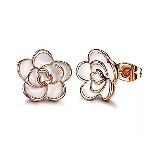 Classic Camellia Rose Flower Stud Earrings Hypoallergenic Precious Dainty Flowers Stud Earrings for Women Girls Delicate Jewelry Gift (White-Rose Gold)
