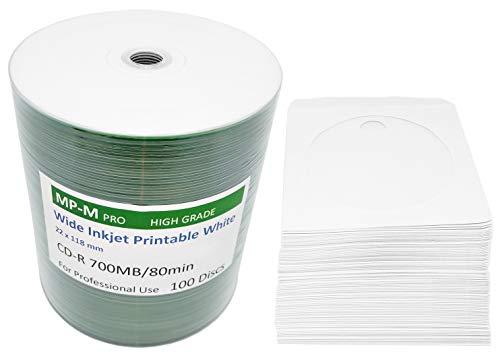 MP-Pro 100 Inkjet Printable CD-R 700MB (CMC) Bedruckbare CD Rohlinge Weiß für Tintenstrahldrucker + 100 CD Papierhüllen mit Folienfenster