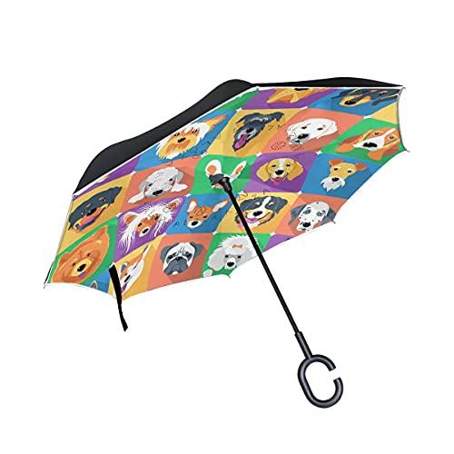 Paraguas plegables Retro Colorful Cartoon Dogs Paraguas plegables inversos a prueba de viento UV con mango en forma de C