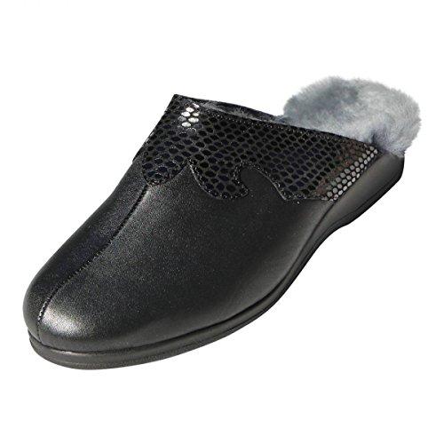 Hollert German Leather Fashion Lammfell Hausschuhe - BIEKAMP Kroko SCHWARZ Damen Schuhe Schuhgröße EUR 39