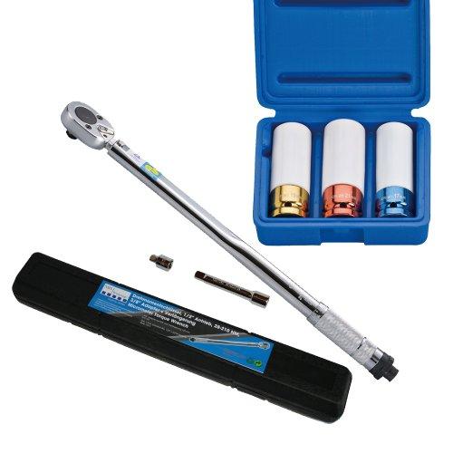 NBS Werkzeuge Drehmomentschlüssel, 12,5 (1/2) Antrieb, 28-210 NM + Kraft-Schoneinsätze, 17-19-21 mm, 12,5 (1/2), 3-tlg.