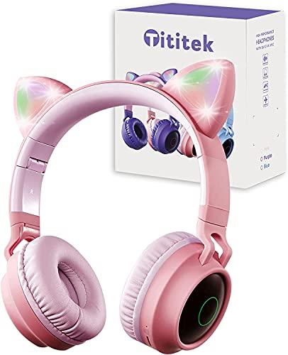 Tititek Auricolare Bluetooth per bambini, Cuffie Carine, cuffie senza fili sopra l'orecchio, Cuffie Con Orecchie Di Gatto con microfono LED per orecchie di gatto sopra lorecchio (Rosa)