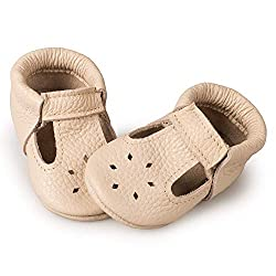 LittleBeMocs T-Strap Baby Moccasins for Boys and Girls