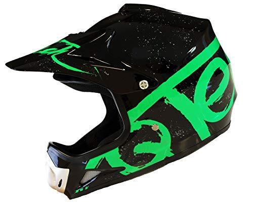 Qtech Kinder Motocross MX Helm MX BMX Quad ATV Motorradhelm Motorrad - Grün - S (53-54cm)