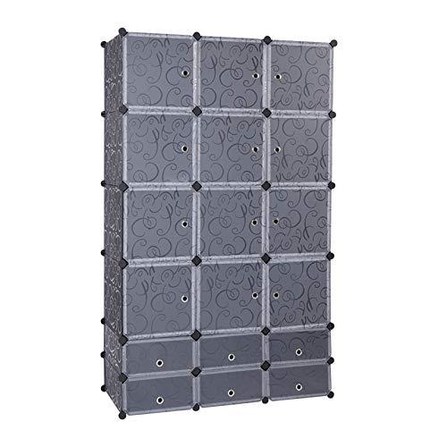 LeafRed C 18-Cube DIY Modular Cubby Shelving Storage Organizer Extra Large Wardrobe with Clothes Rod Bookshelf Closet Organizers Book Shelf Bookcase