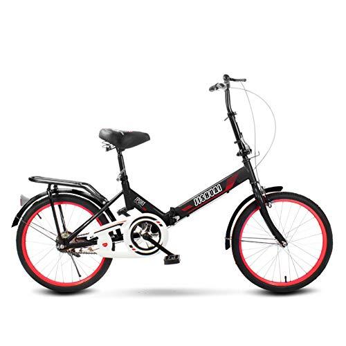 MYRCLMY Bicicletas plegables para estudiantes de adolescentes de 16/20 pulgadas, mini compacta bicicleta urbana con estante trasero, acero V freno, negro, 16 pulgadas