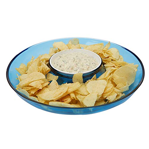 Mind Reader DIPCHIP-BLU Chip & Dip, Acrylic Tinted Snack, Kitchen, Centerpiece, Special Occasion, Countertop Bowl, Blue, One Size