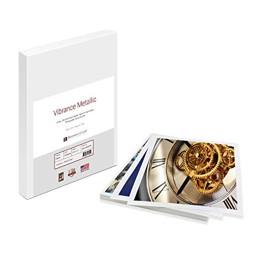 Vibrance Metallic Photo Printer Paper 10 mil 255 gsm Premium Photo Paper Sheets 8.5 x 11 inches 50 Sheets Works with All Inkjet Printers Including Professional Makes and Models Like Epson Canon HP