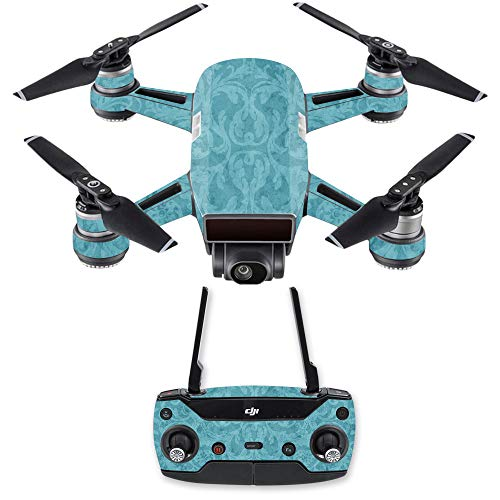 MightySkins Skin Compatible with DJI Spark Drone & Controller - Baby Blue Jacquard | Protective, Durable, and Unique Vinyl Decal wrap Cover | Easy to Apply, Remove | Made in The USA