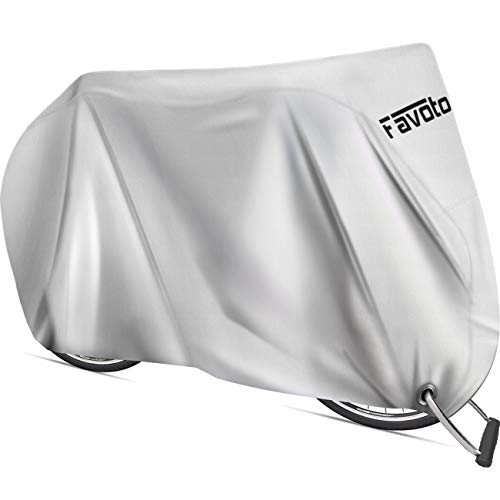 Favoto Bike Cover Waterproof Outdoor Bicycle Cover Thicken Oxford 29 Inch Windproof UV Snow Rustproof with Lock Hole Storage Bag for Mountain Road Bike City Bike Beach Cruiser Bike Solid Silver