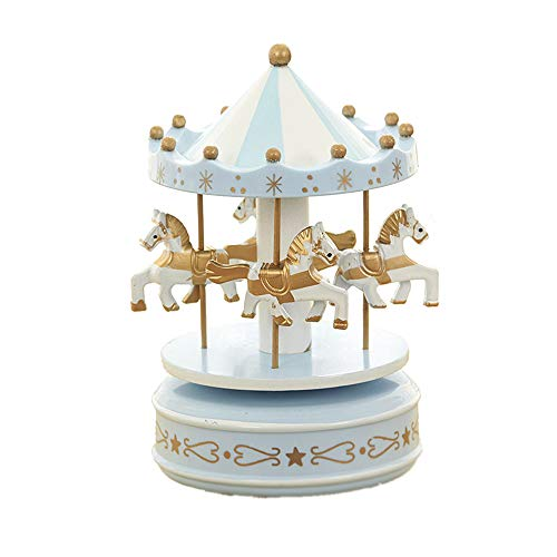 MINGZE Cajas Musicales, Caja de música de Madera Europea con 4 Caballos con carrusel, para niñas Niños Niños Bebé Navidad Cumpleaños Cumpleaños Regalo (Star-Blue)