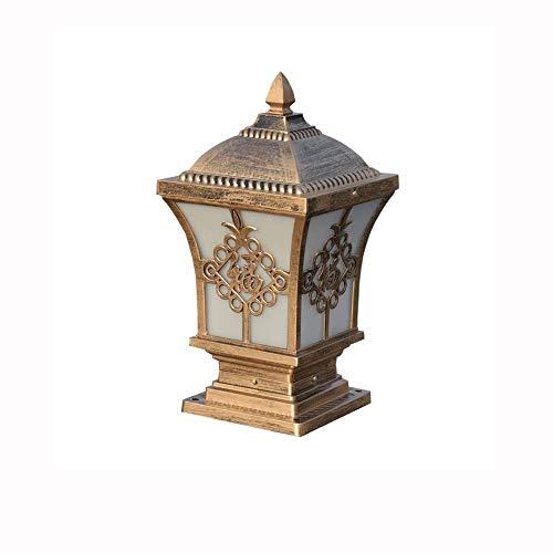 KAIKEA Linterna de pilar exterior de aluminio fundido a presión de bronce, decoración de postes de puerta Lámparas de poste de pilar IP55 impermeables de doble uso, enchufables eléctricas para exterio