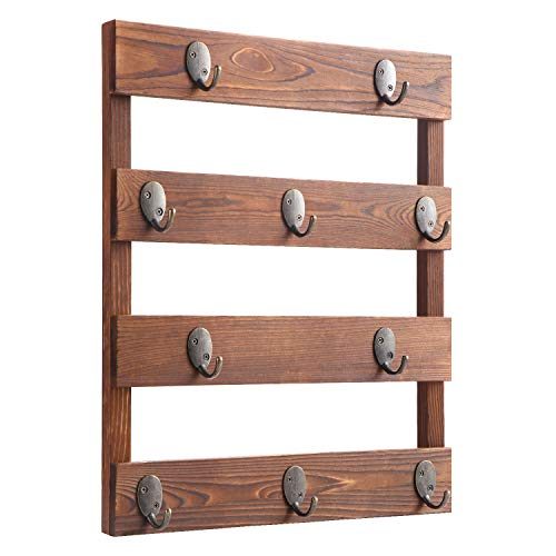 Eurlemd Coffee Mug Holder Rustic Wooden Mug Rack Wall Mounted with 10 Hooks for Home Kitchen Display Storage and Collection Rustic Brown
