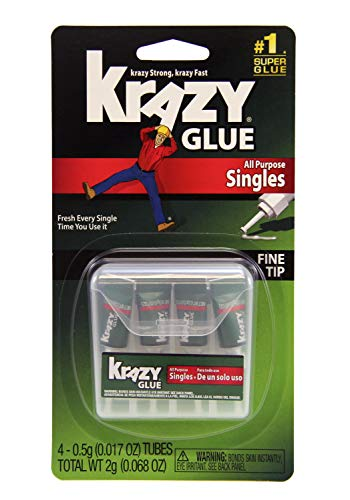 All Purpose Krazy Glue KG58248SN Krazy Glue All Purpose Singles, 0.5 oz. Tubes, Multicolor, 4 Count