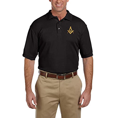 Gold Square & Compass Embroidered Masonic Men's Polo Shirt - [Black][XX-Large]