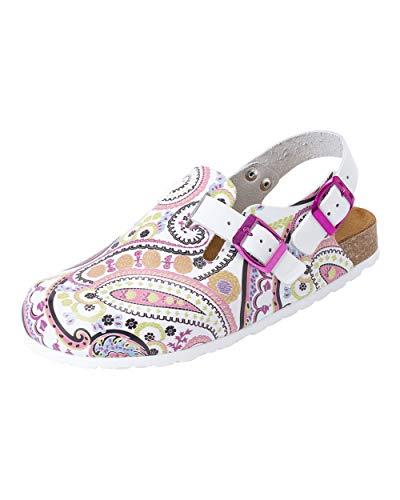 CLINIC DRESS Clog - Clogs Damen bunt Schuhe für Krankenschwestern, Ärzte oder Pflegekräfte bunt, grafisches Muster, Paisley 39