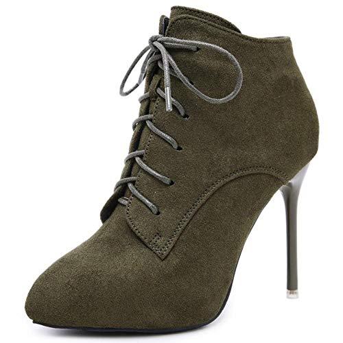 WTMLK Nuevos tacones finos sexys elegantes cordones de zapatos puntiagudos otoño señoras zapatos de invierno botas de mujer para mujer, verde militar, 7.5