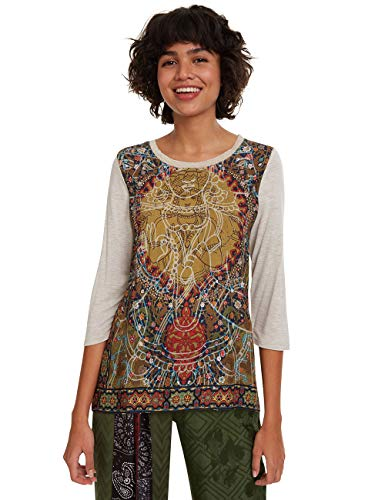Desigual Damen RAHJAN T-Shirt, Weiß (Arena Vigore 1018), Large (Herstellergröße: L)