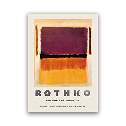 FGVB Póster de exposición de Mark Rothko para el Museo Guggenheim de Nueva York 1970 Impresión del Museo Arte Abstracto de la Pared Pintura en Lienzo Decoración para el hogar 50x70cm Sin Marco