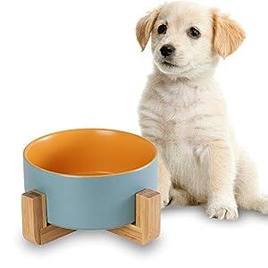 HCHLQLZ Keramik Hundenapf Futternapf Fressnapf Napf für Hund Katzen mit Massivholz Ständer 8