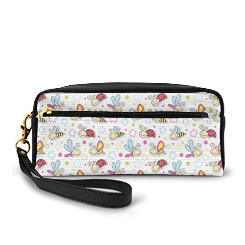 Pencil Case Pen Bag Pouch Stationary,Adorable Bugs with Colorful Flowers Ladybugs Dragonflies Bees Animal Fun,Small Makeup Bag Coin Purse