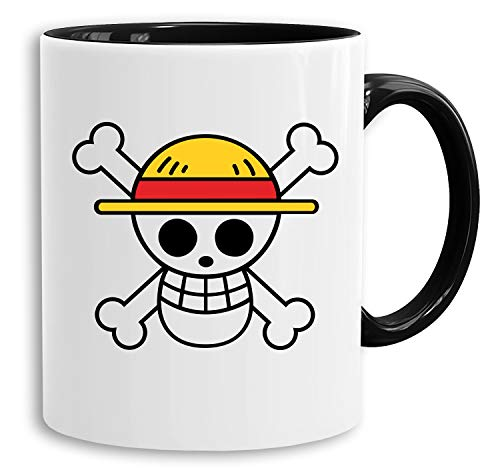 Logo - Tasse Kaffeetasse Son Ruffy Luffy Zoro Saitama One Dragon Master Goku Ball Vegeta Turtle Roshi Piece Golds Db, Farbe:Weiß