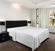 Utopia Bedding Sábana Encimera - Microfibra Cepillada - (Blanco, Cama 135, 225 x 255 cm)