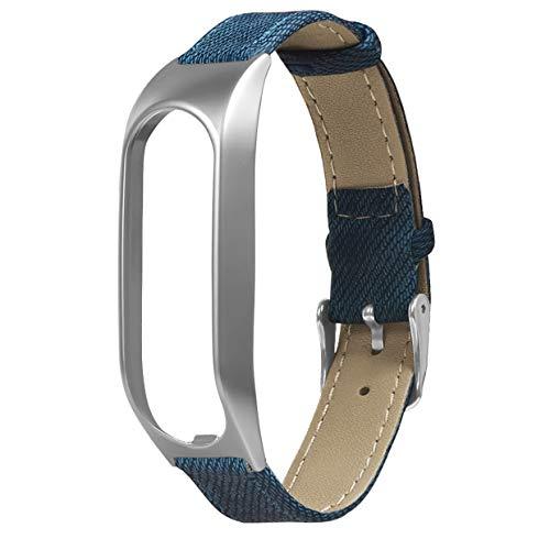 MXECO Metallgehäuse Langlebig Exquisite Mode Denim Retro Gürtel Intelligente Ausrüstung Zubehör Für Tomtom Touch Armband (Blau Und Silber)