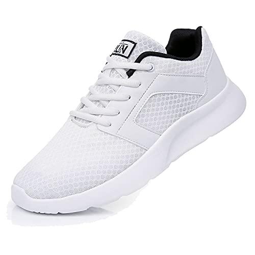 Fexkean Laufschuhe Herren Damen Sportschuhe Hallen Training Gymnastikschuhe Sneaker Casual Sport Outdoor Fitnessschuhe Straßenlaufschuhe Turnschuhe (8996 White 45)