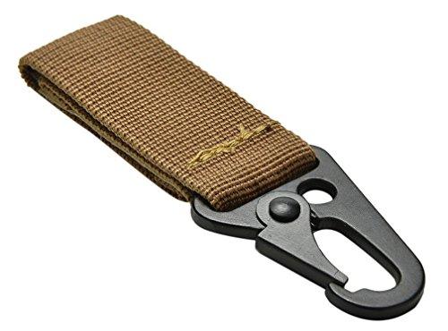 ZENDY Sangle en nylon avec porte-clés équipement extérieur outil mousqueton aluminium clé en forme de D verrouillage des couleurs assorties (Kaki)