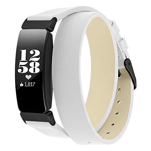 Angersi Correa Compatible con Fitbit Inspire 2 Correa,Doble Circuito Piel Genuina Correa Accesorios de Repuesto Wristband Compatible con Fitbit Inspire/Inspire HR/Ace 2 Mujeres Hombres