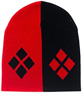 Batman/'s Classic Harley Quinn Logo Cuff Slouch Beanie Knitted Winter Hat Red Blk