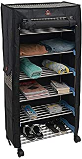 TRENDY Classics 6 Shelves Utility , Mild Steel Collapsible Shoe Rack Cabinet with Wheel and Cover (Blue , Black)