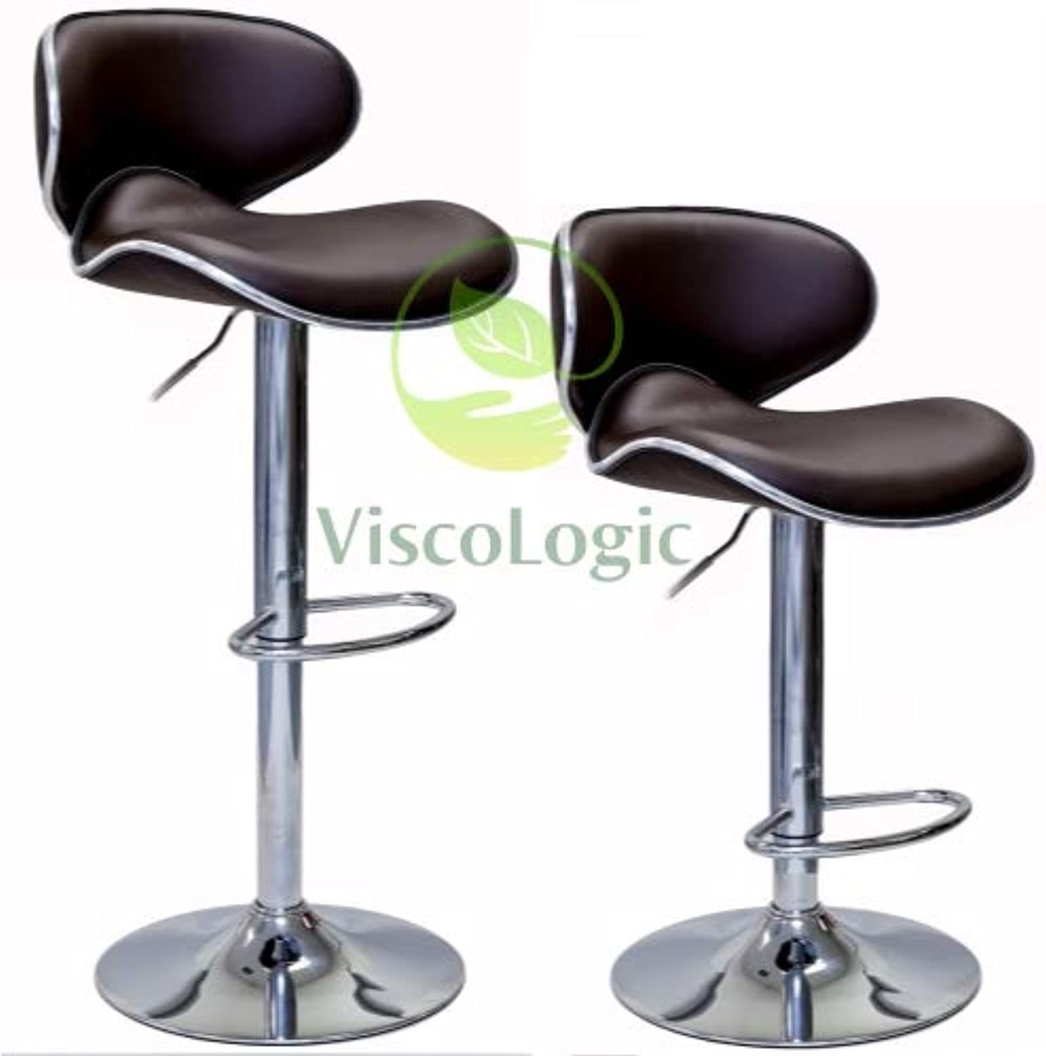 ViscoLogic Series Oasis Height Adjustable Leatherette Saddle Style Seat and High Back Rest 360 Swivel 24 to 33 inch Bar Stool with Chrome Pole & Base with Hard Floor Predection Plastic (Set of 2 Stools - Brown)