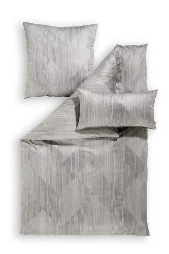 ESTELLA Jersey Bettwäsche Valentin 6437 Mako Interlock Baumwolle Farbe: Platin Größe 135x200 cm + 80x80 cm
