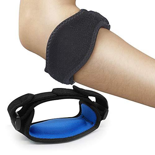 Mabor Codera de tenis con almohadilla de compresión ajustable para codo de tenista, codo de golfista, codo para hombres y mujeres, color azul
