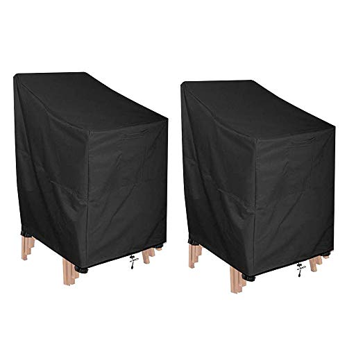 mistybabes Gartenstühle Abdeckung,2 Stück Schutzhülle Stapelstühle Gartenstuhl Abdeckung 210D Oxford Wasserdicht Winddicht Reißfest für Außenstühle Lagerung Schwarz