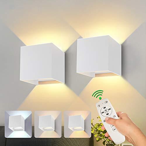 Smart LED Wandleuchte Wandlampe Dimmbar CCT 3000K-6000K Einstellbare 20W 1800LM mit Fernbedienung und Bluetooth APP Einstellbarer Abstrahlwinkel & Helligkeit Moderne Aluminium Wandbeleuchtung
