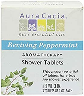 Aura Cacia Reviving Peppermint Aromatherapy Shower Tablets   Contains 3 Individually Wrapped 1 oz. Tablets