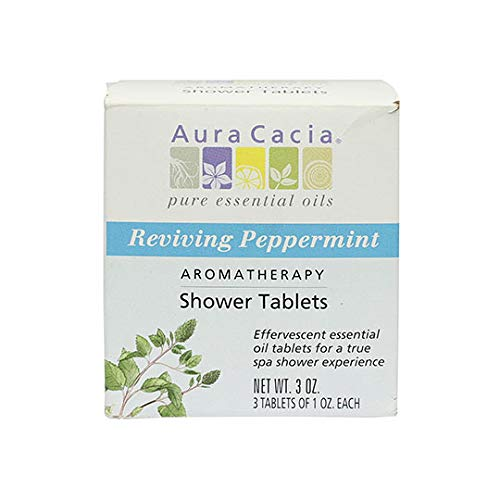 Aura Cacia Reviving Peppermint Aromatherapy Shower Tablets | Contains 3 Individually Wrapped 1 oz. Tablets