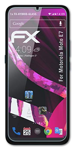 atFolix Glasfolie kompatibel mit Motorola Moto E7 Panzerfolie, 9H Hybrid-Glass FX Schutzpanzer Folie