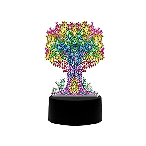 Árbol DIY LED Diamante Pintura Luz nocturna dibujos animados Animales Lámpara de luz nocturna Proyector para niños con música