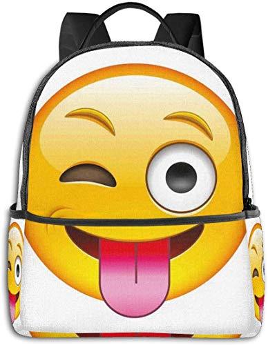 Dessin animé comme technologique Smiley affectueux Sarcastique Visage Heureux avec la Langue Impression Moderne décontracté randonnée Sac à Dos de Voyage 12 '5' 14,5 'LWH