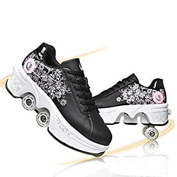 Roller Skates for Women Outdoor Parkour Shoes with Wheels for Girls/Boys 2 in 1 Double Line Skates/Kick Rollers Shoes for Adults Recreation Sneakers,Black Pink,EU 40 US 9
